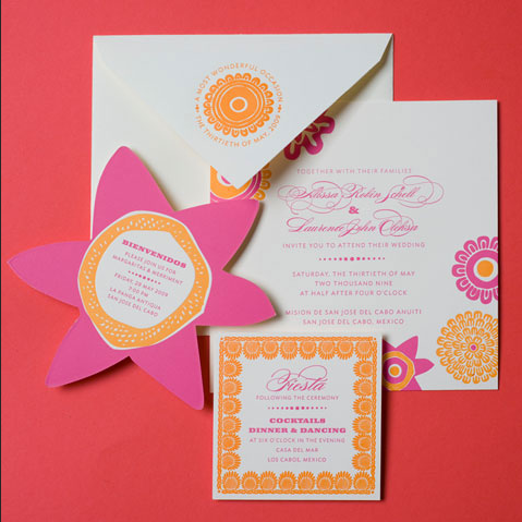fiesta wedding invitations for mexican desintation wedding in mexico