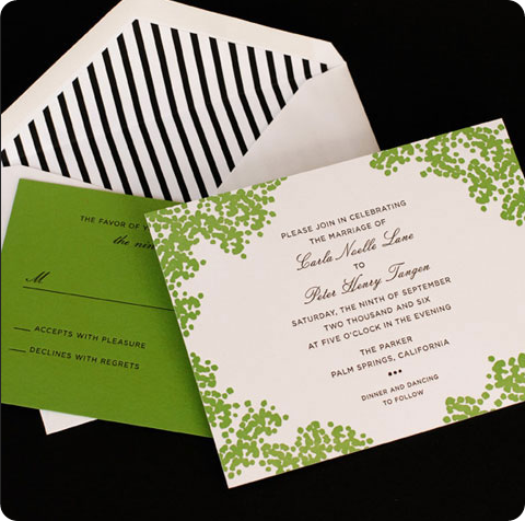 green and white wedding invitation by cheree berry