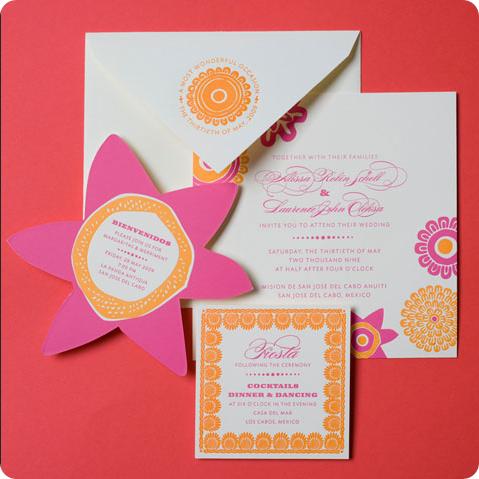 fiesta wedding invitations for mexican desintation wedding in mexico