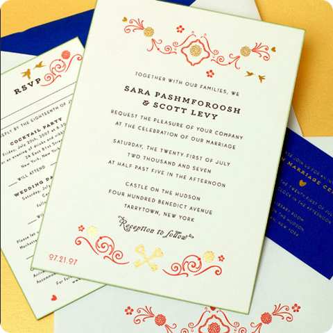 red and gold embellished wedding invitation by cheree berry