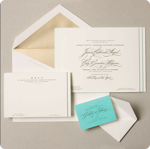 wedding invitation with tiffany blue response card and envelope