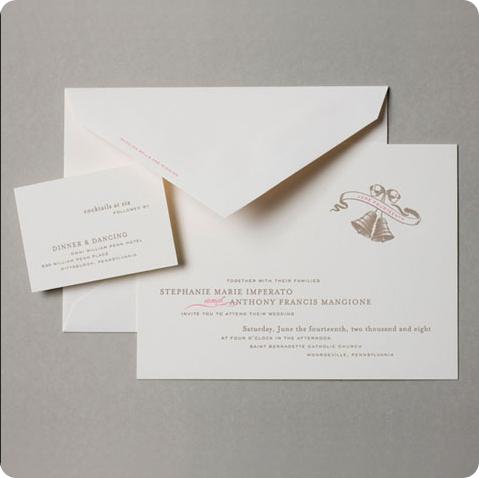 vintage wedding bell wedding invitation