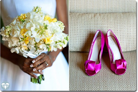 white and yellow wedding bouquet with hot pink kate spade wedidng shoes