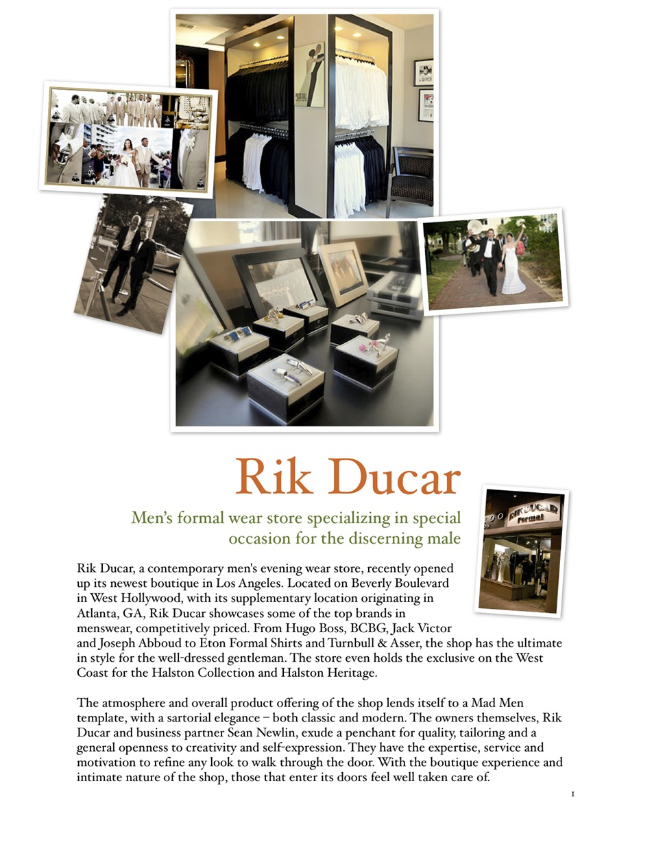 Rik Ducar mens formal Wear for weddings and special events
