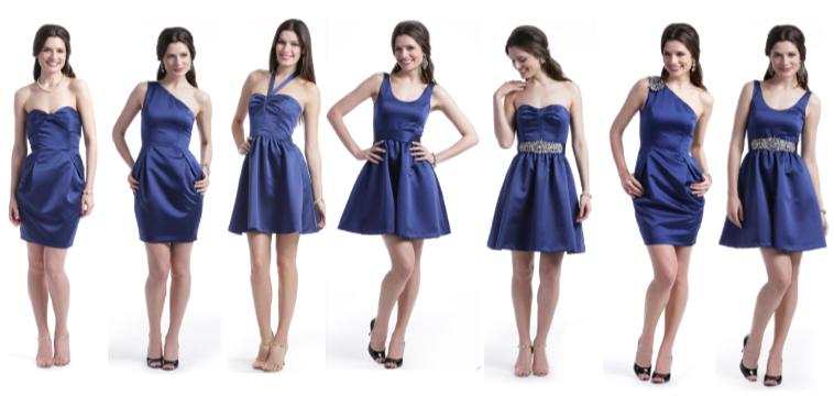 navy blue sapphire bridesmaid dress-- halter, one shoulder, A-line