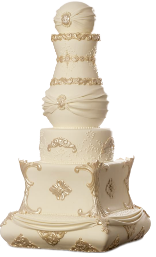 ornate wedding cake ivory and gold glamorous fancy high end