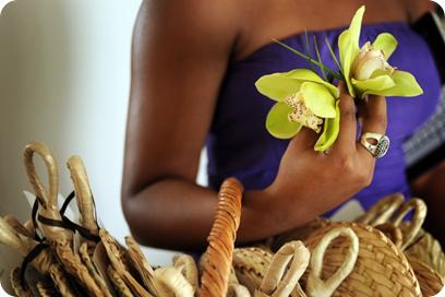 single cymbidium orchids with fan programs for destination wedding