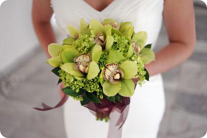 Cymbidium Orchid wedding bouquet for destination wedding