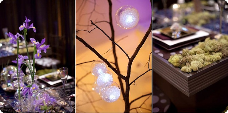 Going Natural doesn't mean you can't go glam, too.  The oversized tree—stripped of leaves but adorned with hanging crystal balls, some with LED lights and crystal filler.  small purple flowers care placed in tiny dainty containers of various sizes.  The table of deep brown wood was dotted with green moss as an accent.