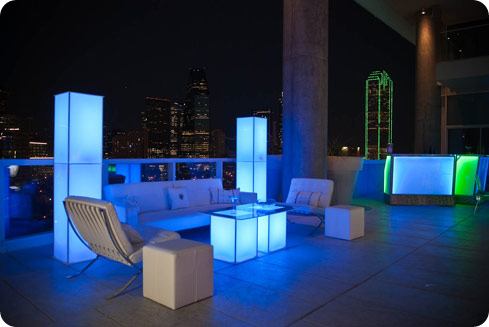 Cort Luna lounge funiture for weddings parties and events Light up