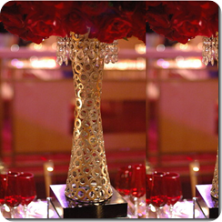 Rose centerpiece with crystal container