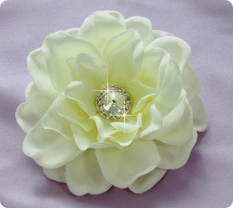 beautiful ivory flower with jeweled stone in the center barrette for bride's hair for wedding