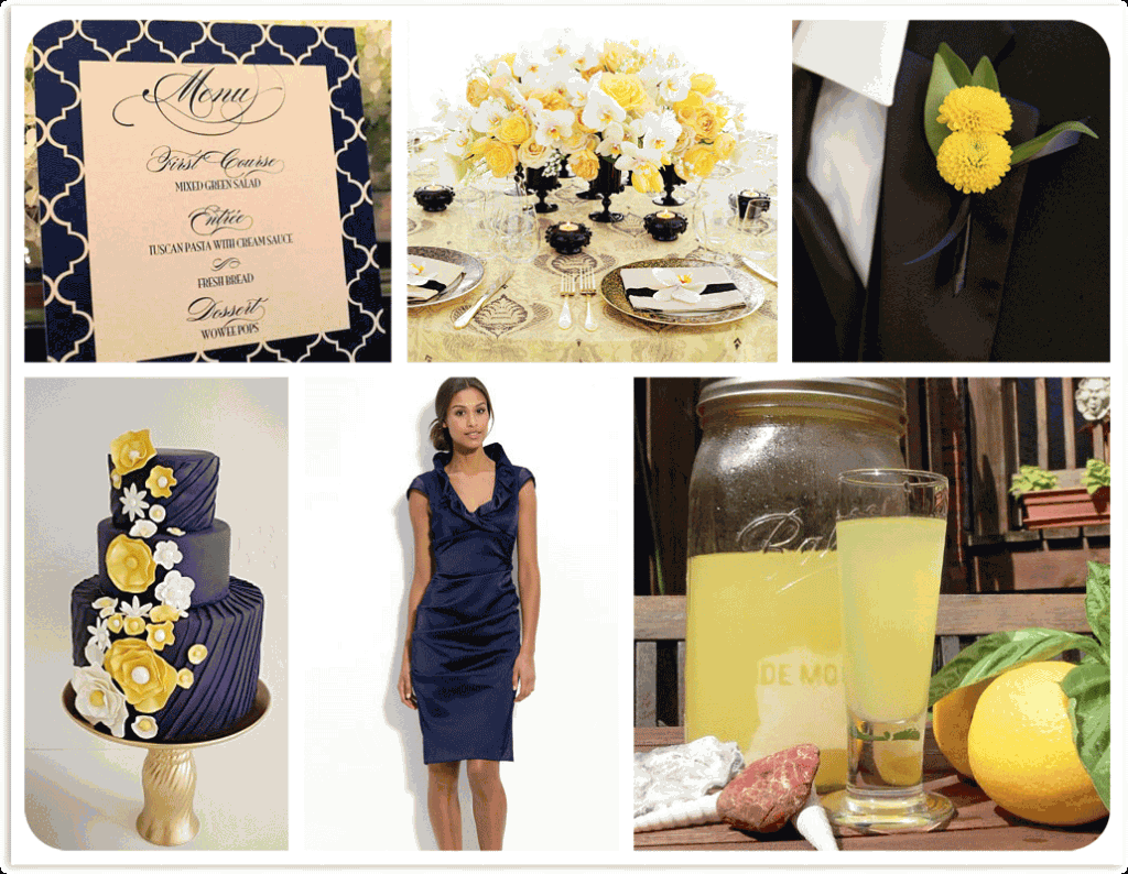 navy and yellow inspiration board