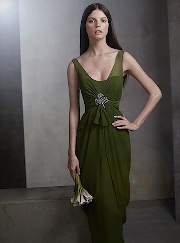 vera wang green dress with ruched belt