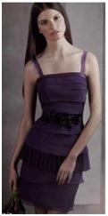 purple layered bridesmaids dress by vera wang