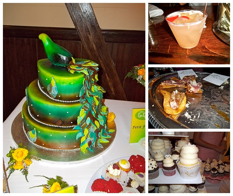 peacock wedding cake, chapeltini signature drink, cupcakes