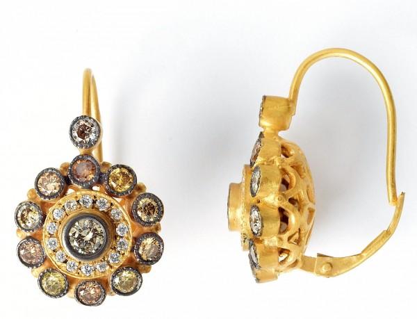 MEUS Designs 18K Gold Champagne & White Diamond Cluster Earrings