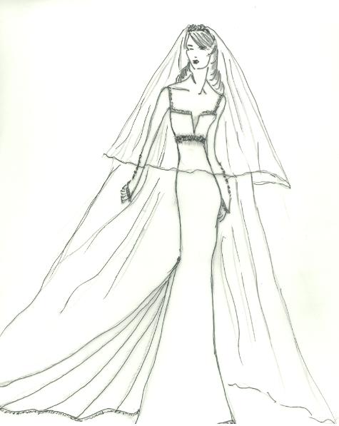christina makowsky wedding dress sketch for anne hathaway