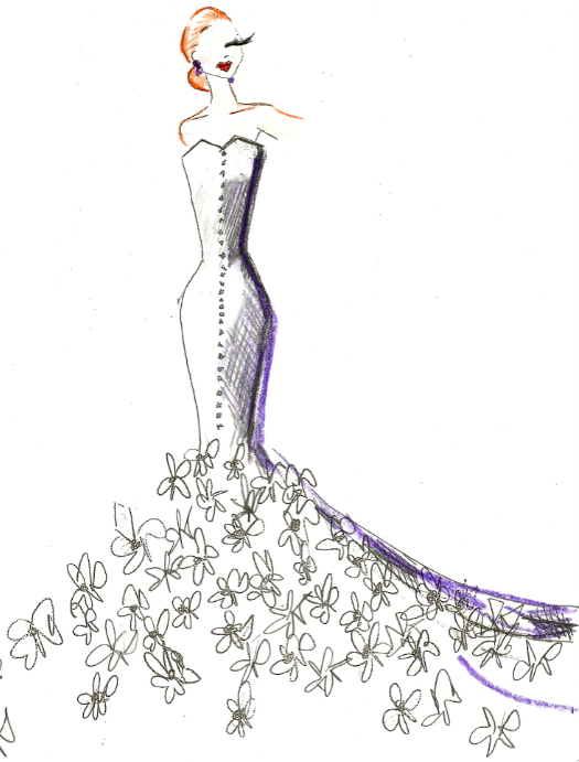 Mermaid gown sketch for anne hathaway