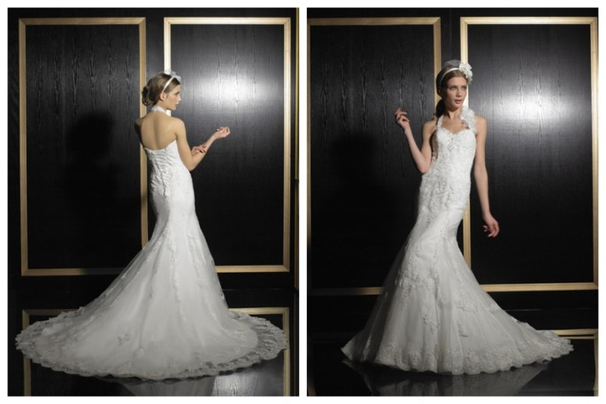 Lace mermaid wedding dress Gown by Val Stefani