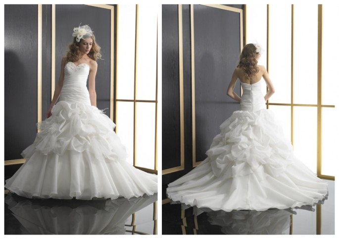 Ruffled floral layered organza ball gown by Val Stefani