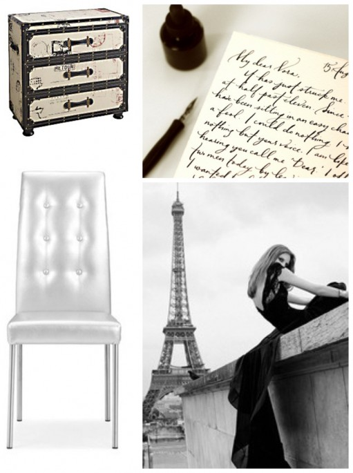 tufted chair in silver platinum french eiffel tower fashion love letter antique chest