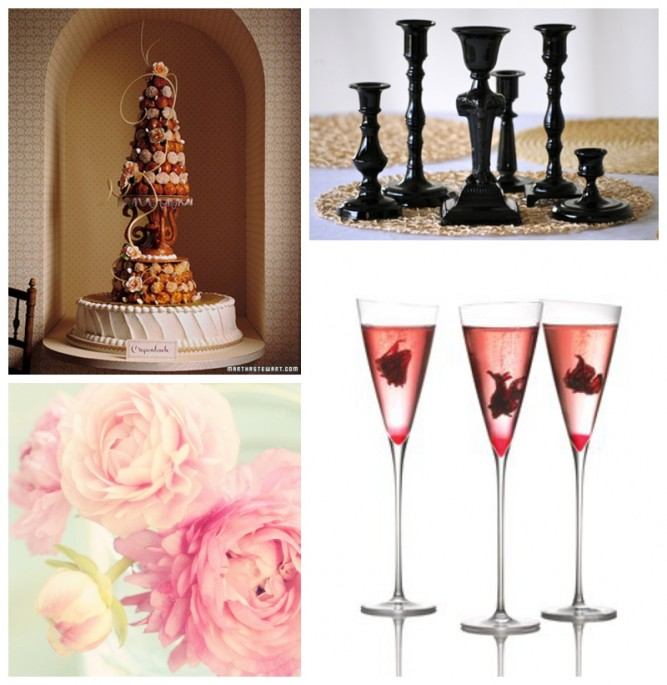 black candlesticks, pink peonies, champagne, croquembouche