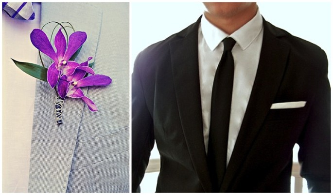 Boutonniere or pocket square for groom groomsmen at wedding