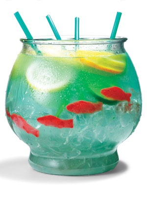 Fishbowl Cocktail Signature Drink with malibu rum, blue curacao, sweet and sour mix,