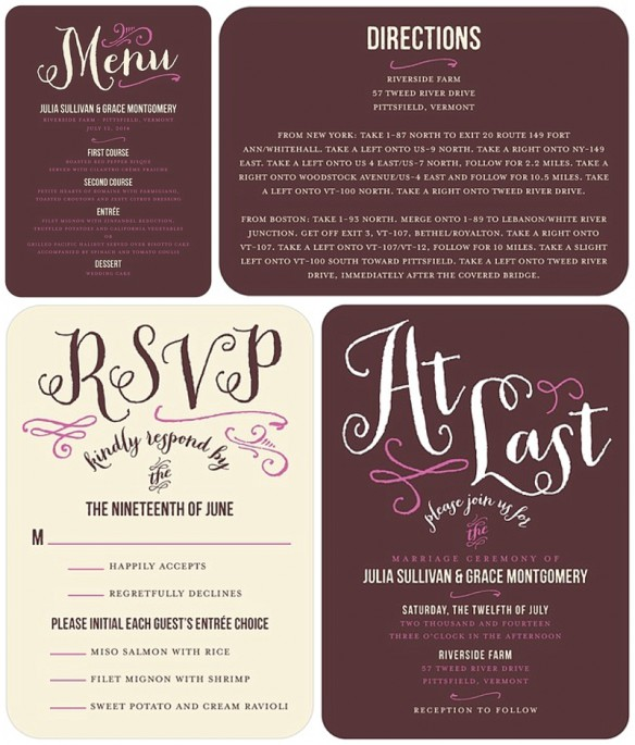 Vintage Whimsical Antique Calligraphy Wedding Invitations