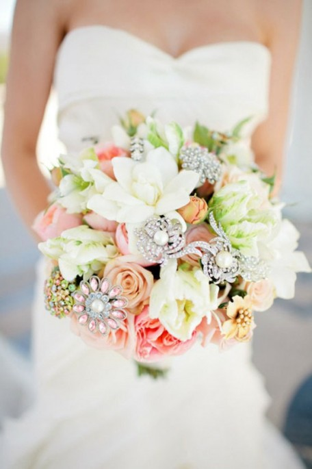 Gardenia and Rose Bouquet with Vintage Brooches