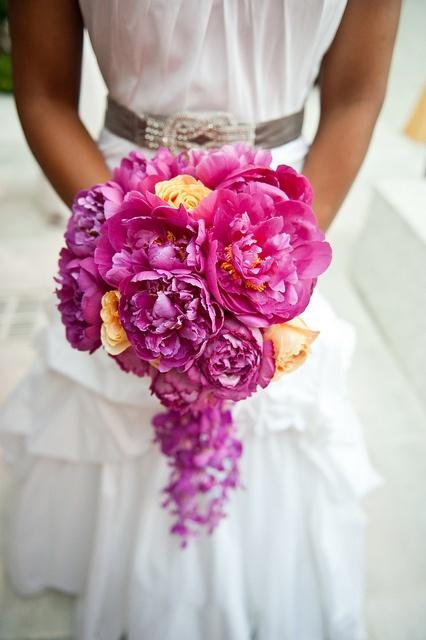 fuchsia, purple yellow wedding bouquet