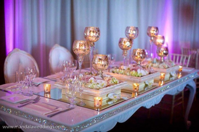 Glam Iridescent Table Decor with Rhinestones and Centerpieces