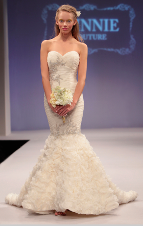 Mermaid wedding gown with ruffles and sequin bodice Winnie Couture