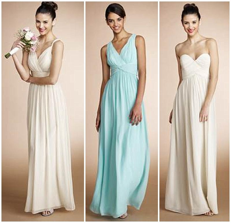 soft color long bridesmaids dresses from donna morgan
