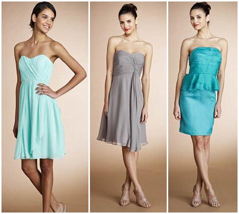short bridesmaids dresses teal mint and grey donna morgan