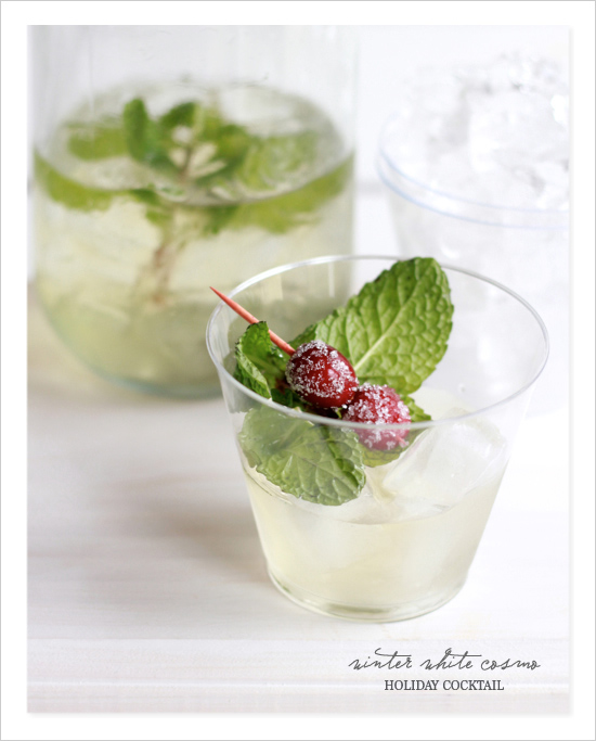 white winter cosmo holiday cocktail