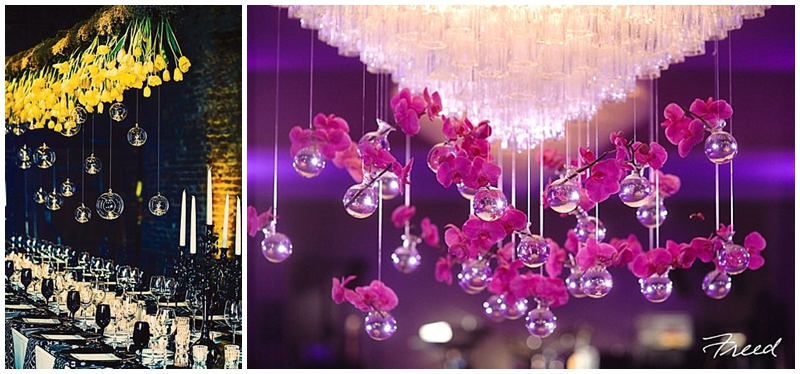 Hanging vases wedding decor