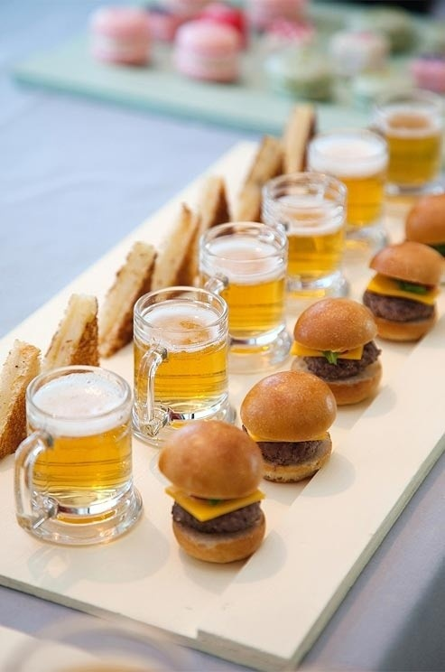 Mini Burger Mini Grilled Cheese Mini Beer for Cocktail Hour Reception