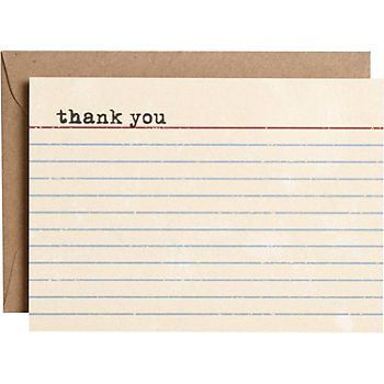 Vintage Library Note Card Thank You Card