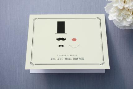 Vintage Hipster Wedding Thank You Card