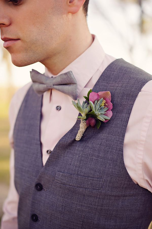 succulent and purple boutonniere