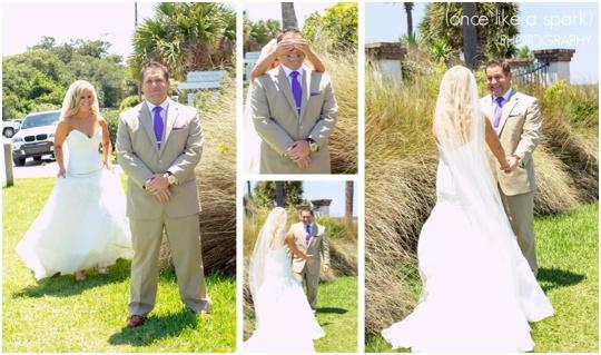 first look saint simons island wedding