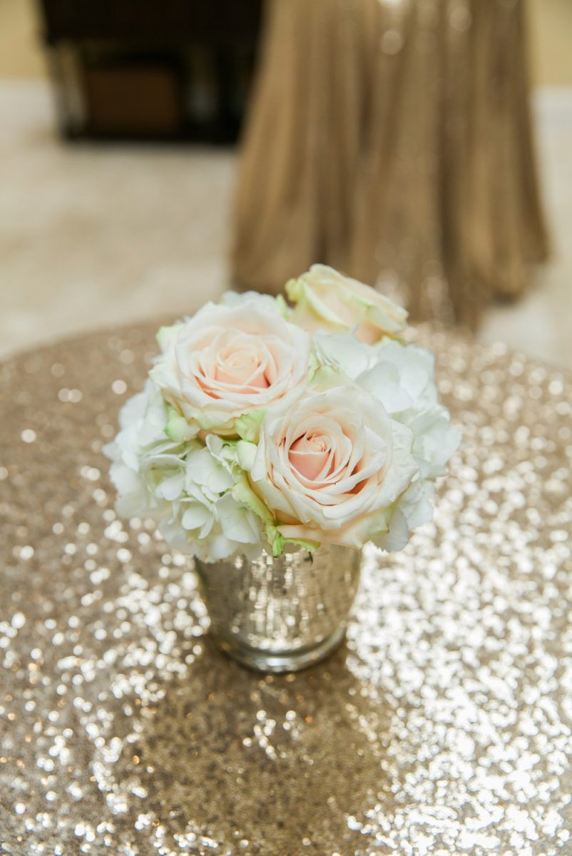 gold sequins and wedding flowers