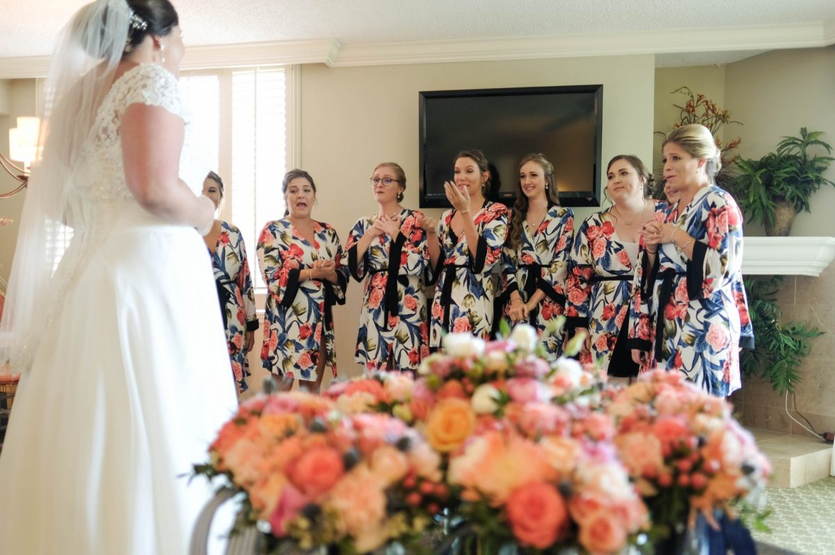 Bride and Bridesmaids at Wedding at King and Prince Resort