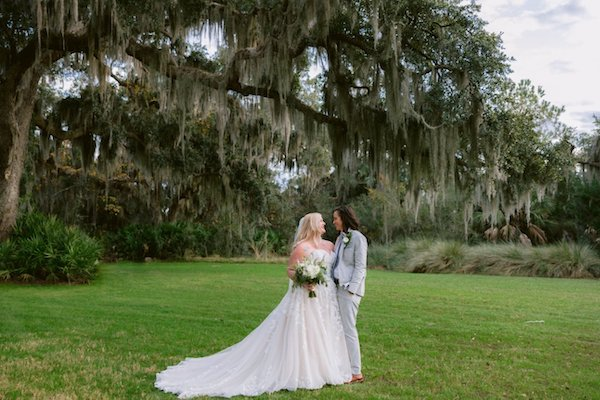 two brides at Captain's Bluff on Saint Simons Island